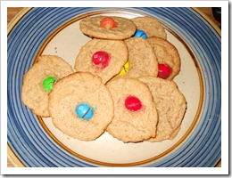 Easy Peasy Peanut Butter Cookies with M&M Candies