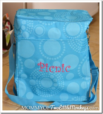 Thirty One Picnic Thermal Tote Bag Aqua Circles