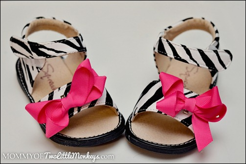zebra sandals with hot pink bow
