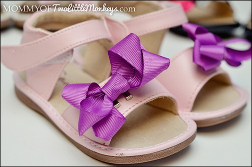 pink sandals with purple bow