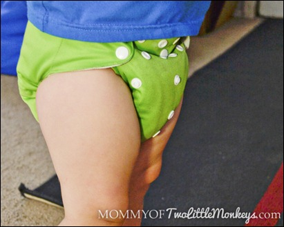 cloth diaper on baby