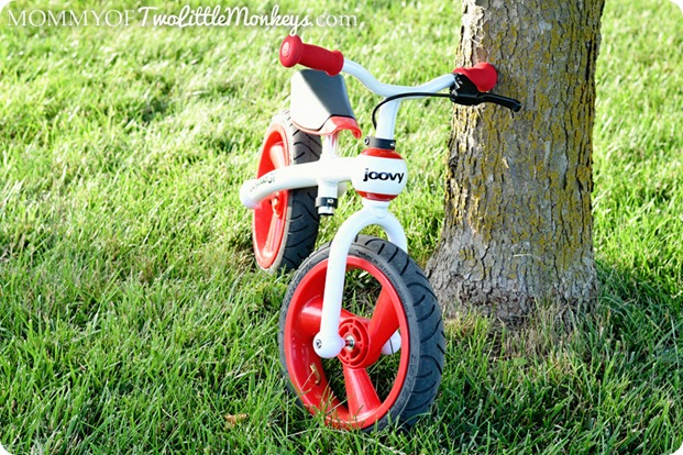 red and white balance bike