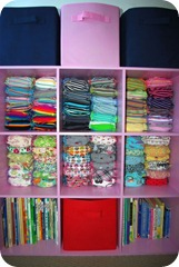 cloth diapers in cubby organizer