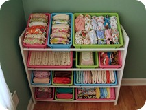 store cloth diapers in toy box organizer