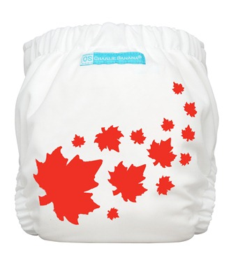 white cloth diaper with leafs