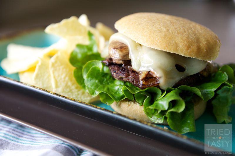 Sautéed Mushroom & Swiss Burger with Caramelized Onions Recipe
