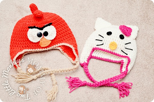 angry bird and hello kitty hat