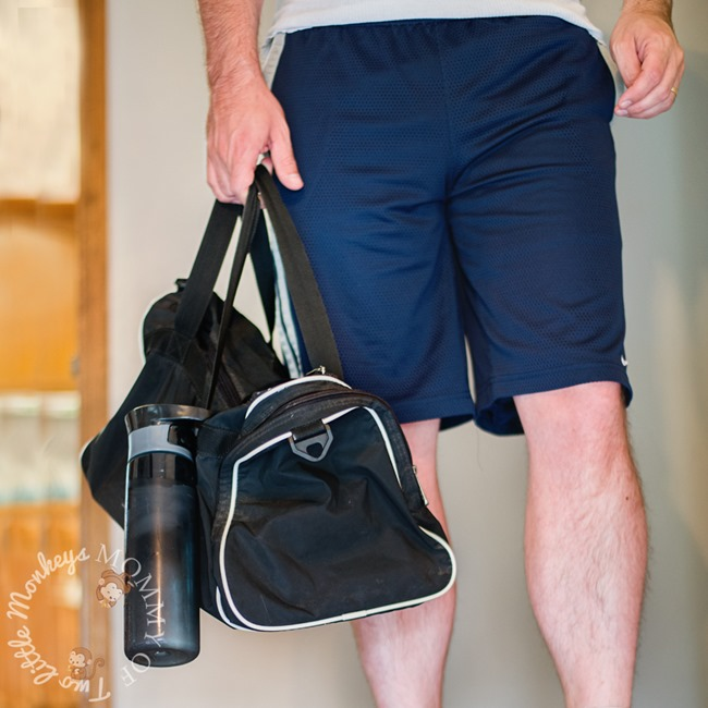 Contigo water bottle on gym bag