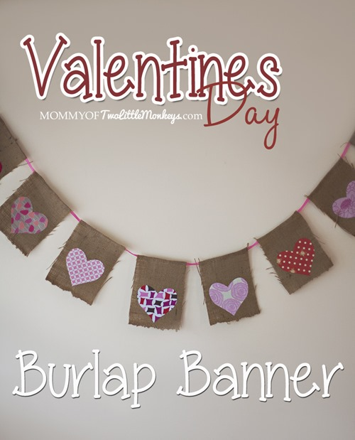 Valentines Day Burlap Banner with Hearts