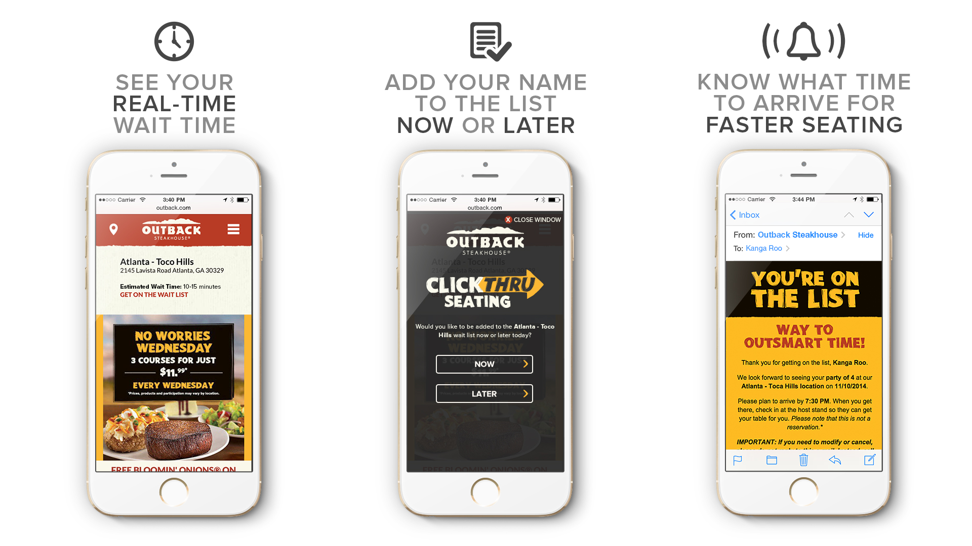 Add Your Name to the Wait List From Home! Outback Steakhouse