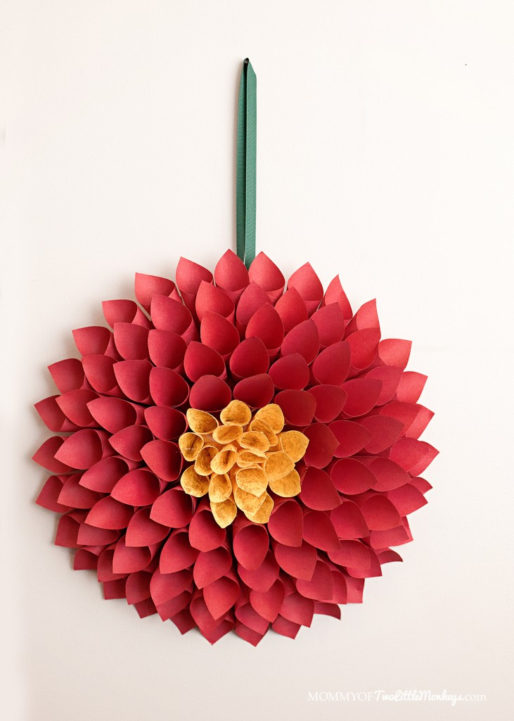 Paper Christmas Wreath - Poinsettia Inspired Dahlia
