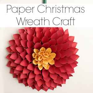 Paper Christmas Wreath – Poinsettia Inspired Dahlia