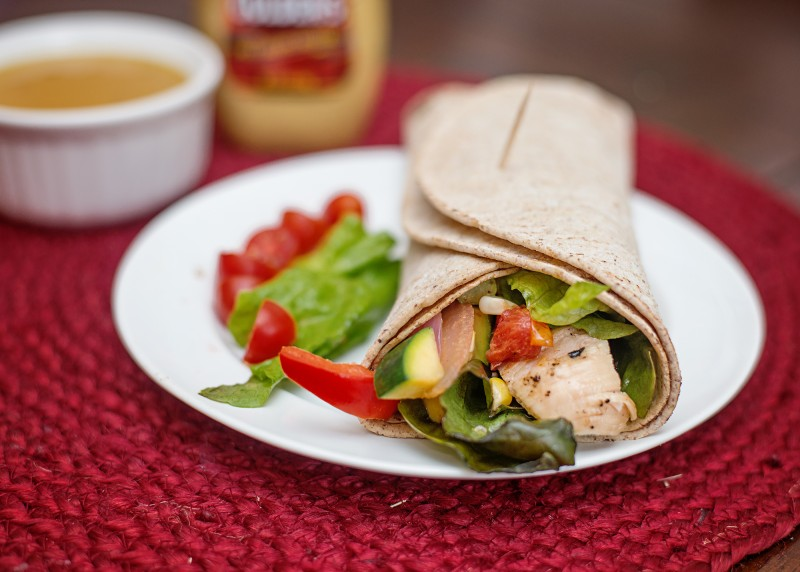 Roasted Vegetable & Grilled Chicken Salad Wrap