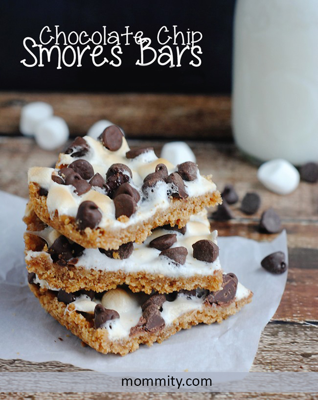 Chocolate Chip Smores Bars - Ooey Gooey & Nut Free! - Perfect for summer bbqs, potlucks and enjoying as a traditional summertime treat.