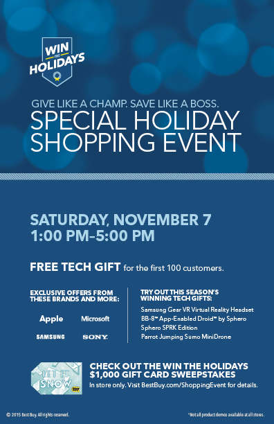 Special Holiday Shopping Event at Best Buy! Saturday 11/7 #WinTheHolidaysSweepstakes