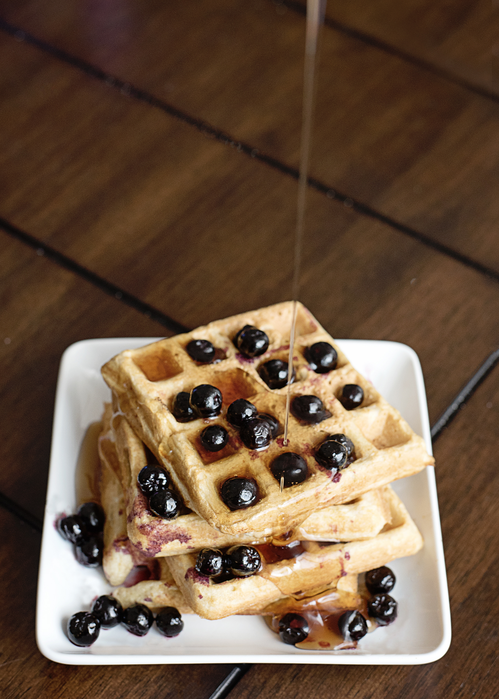 Pre-Workout Protein Waffles Boosted with Frozen Aroniaberries