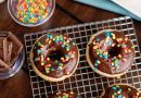Beautifully Baked Donuts with a Chocolate Frosting Glaze and Sprinkles